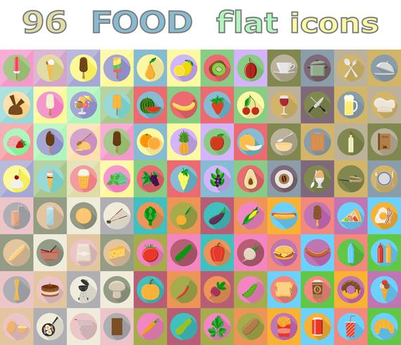 voedsel plat pictogrammen vector illustratie