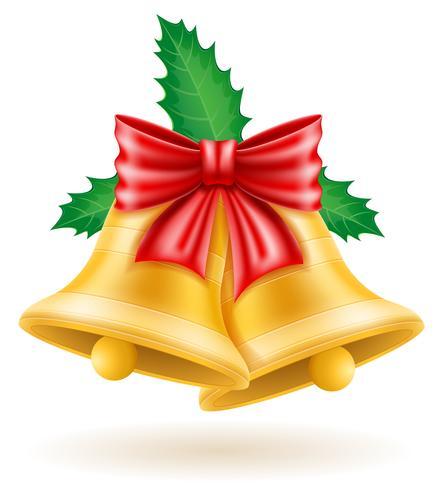 christmas gold bells vector illustration