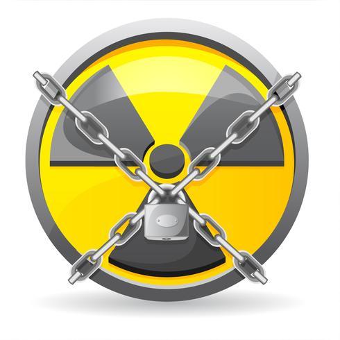 bloccare con catene su un'illustrazione vettoriale radiazione di segno