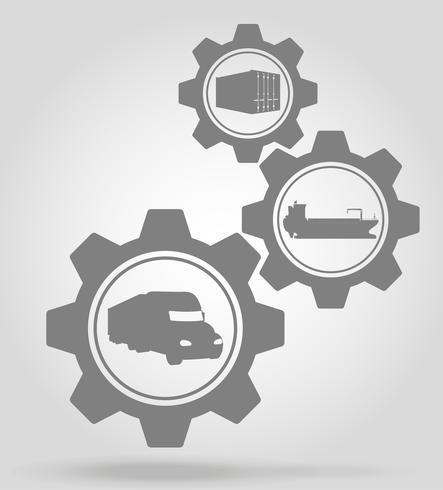 Ilustración de vector de concepto de mecanismo de engranaje de entrega de carga
