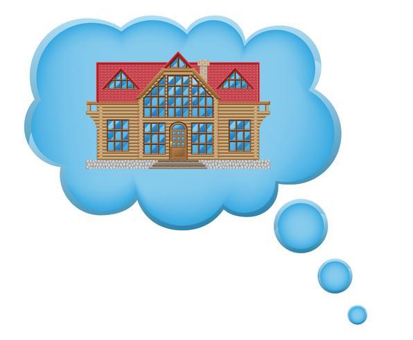 concept van droom een huis in wolk vectorillustratie