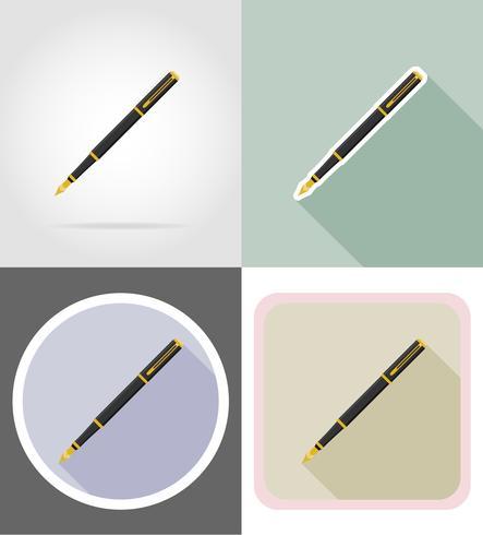 equipo de papelería pluma conjunto de iconos planos vector illustration
