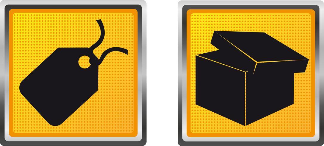 Etiqueta de los iconos y caja para la ilustración de vector de diseño