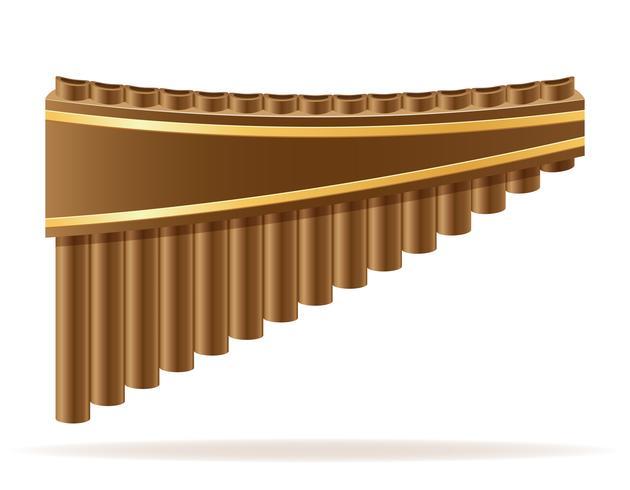 Ilustração em vetor estoque pan flute vento instrumentos musicais