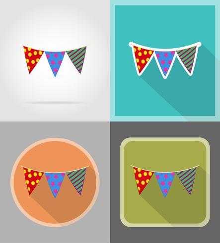 Banderas para la celebración de iconos planos vector illustration