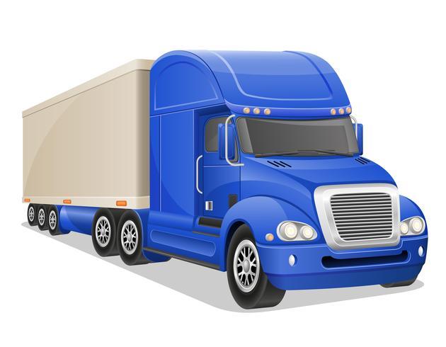 grote blauwe vrachtwagen vectorillustratie