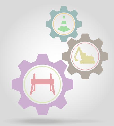 Ilustración de vector de concepto de mecanismo de engranaje de obras viales