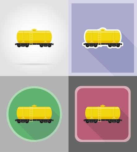 railway carriage for delivery and transportation of fuel flat icons vector illustration