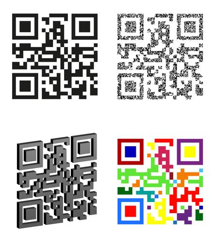 set icons abstract qr code vector illustration - Download Free