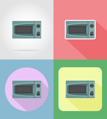 Electrodomésticos de microondas para los iconos planos de cocina vector ilustración