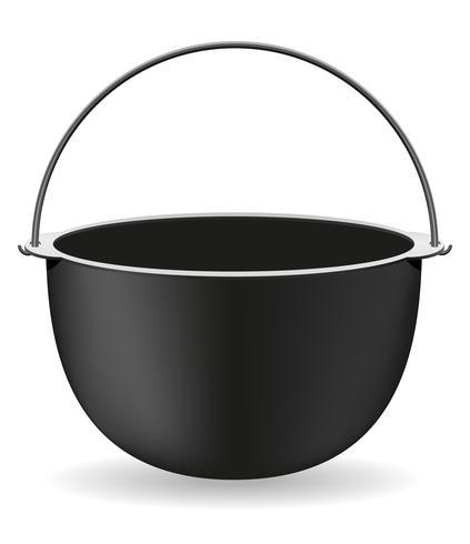 olla para cocinar sobre una ilustración vectorial de fuego