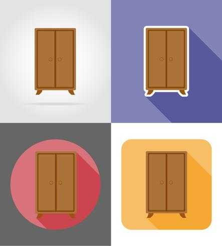 Conjunto de muebles de armario iconos planos vector ilustración