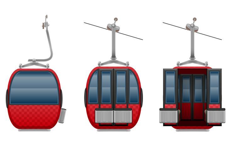 cabin ski cableway vector illustration