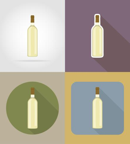 wine bottle objects and equipment for the food vector illustration