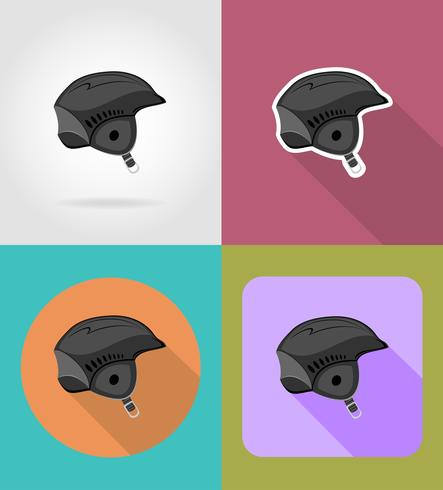 skihelm plat pictogrammen vector illustratie