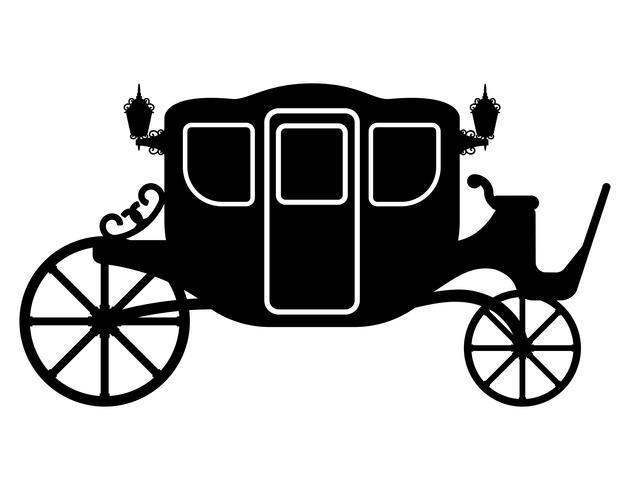 carrozza reale per il trasporto di persone nero contorno silhouette illustrazione vettoriale