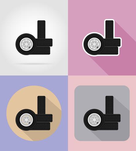 hjul för bil platt ikoner vektor illustration