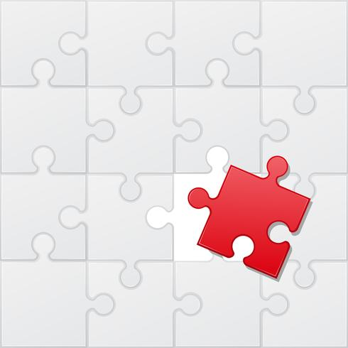 ilustração vetorial vermelho e branco de quebra-cabeça