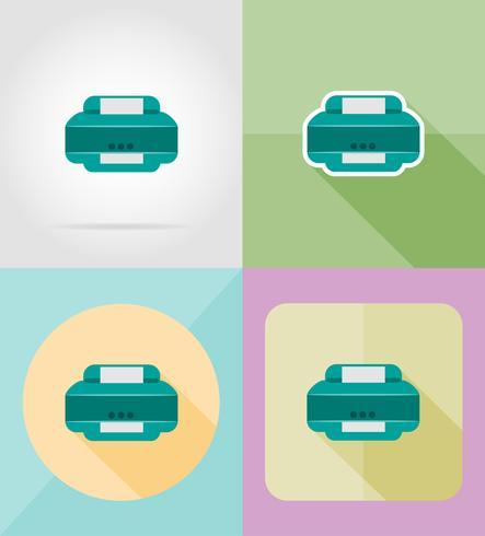 Servicio de impresora plana iconos vector illustration