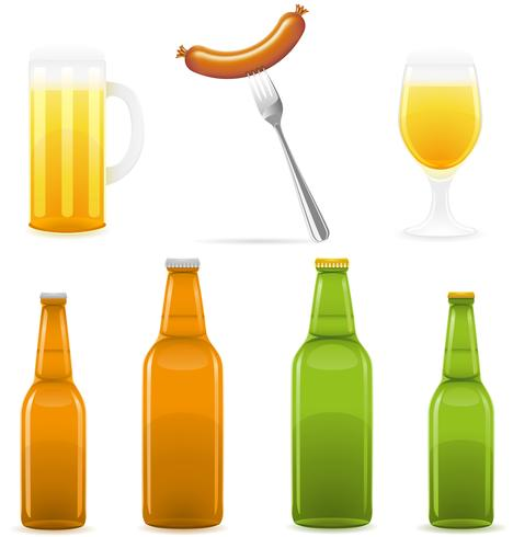 beer bottle glass and sausage vector illustration