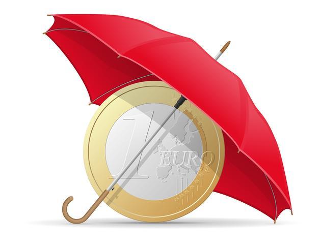 concepto de monedas de euro protegidas y aseguradas ilustración vectorial paraguas