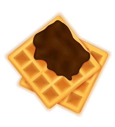waffle belga com sobremesa doce de chocolate para ilustração vetorial de café da manhã
