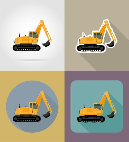 excavator for road works flat icons vector illustration