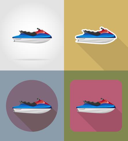 Aquabike iconos planos vector illustration
