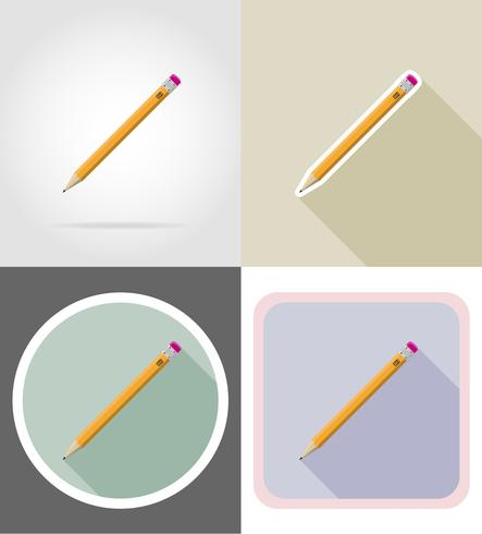 pencil stationery equipment set flat icons vector illustration
