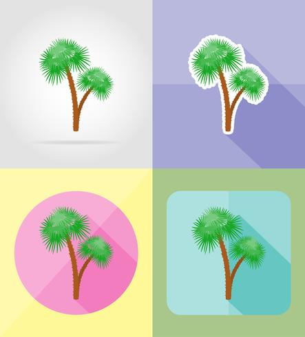 palm tropical tree flat icons vector illustration