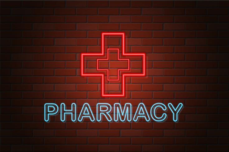 illustration vectorielle de brillant néon enseigne pharmacie