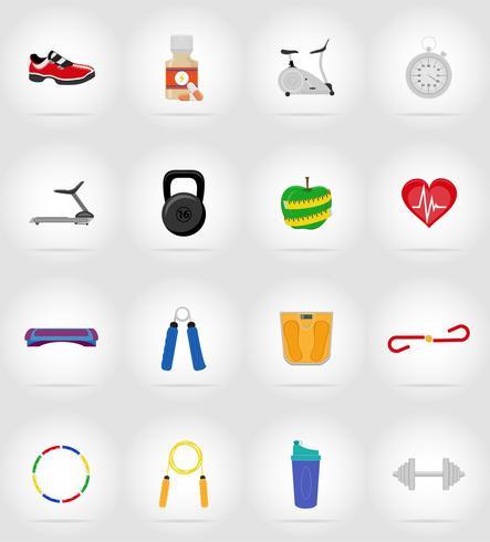fitness platt ikoner vektor illustration