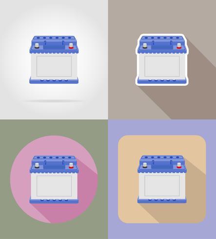 batterie de voiture icônes plates vector illustration isolée sur fond