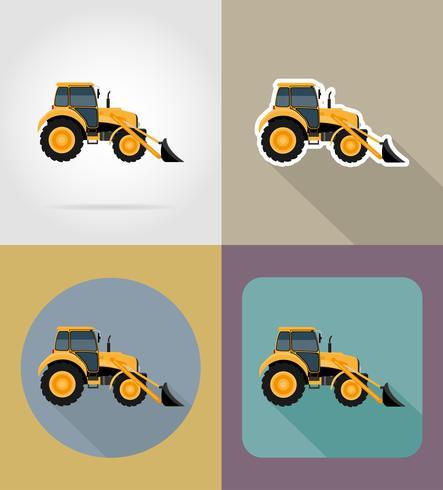 Ilustración de vector de iconos planos de tractor