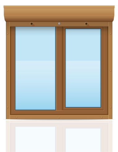 Ventana de plástico marrón con persianas enrollables ilustración vectorial vector