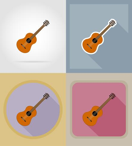 acoustic guitar flat icons vector illustration