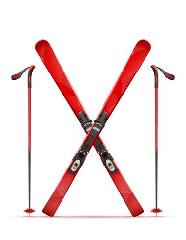 mountain ski and stick vector illustration