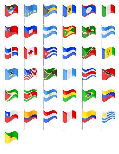 drapeaux pays d'Amérique du Nord et du Sud vector illustration