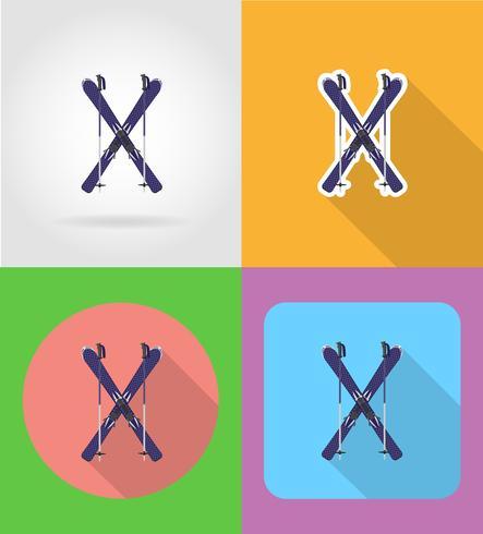 Esquí y palos iconos planos vector ilustración