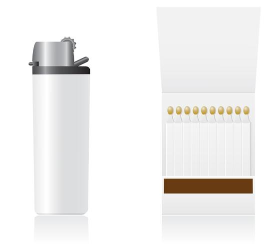 set of white blank lighter and matches vector illustration