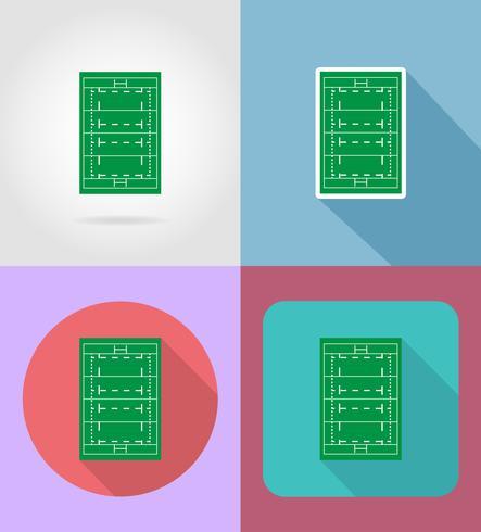 champ d'icônes plat rugby vector illustration