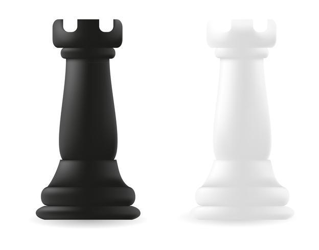 pièce d'échecs tour noir et blanc