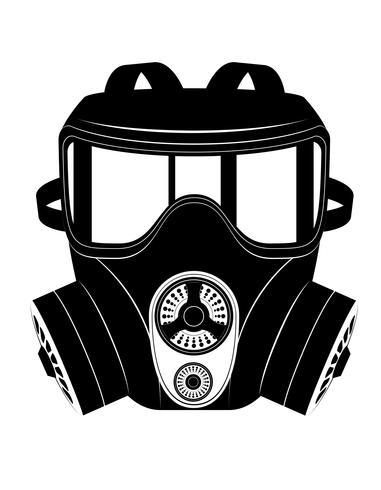 icono de máscara de gas ilustración vectorial blanco y negro vector