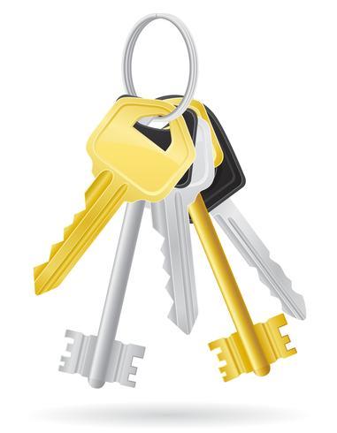establecer llaves puerta cerradura ilustración vectorial