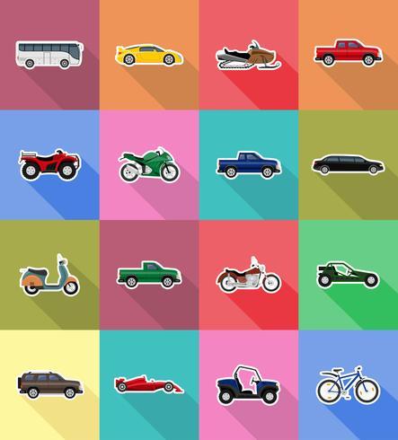 transport plat icônes vector illustration