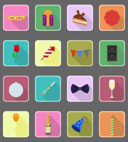 firandet satte platta ikoner vektor illustration