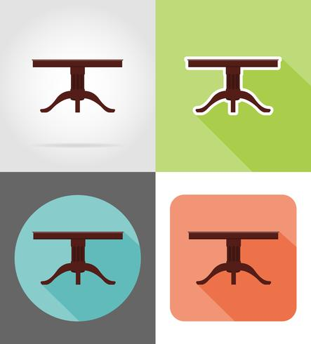 table furniture set flat icons vector illustration