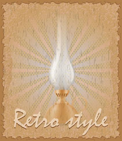 retro stil affisch gammal fotogen lampa vektor illustration