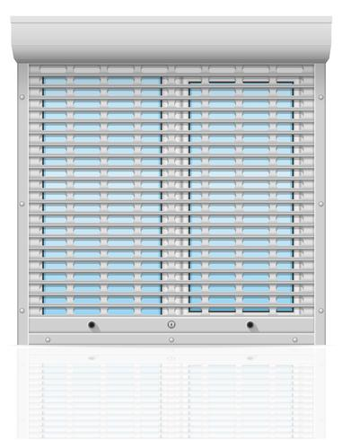 plastic window behind metal perforated rolling shutters vector illustration