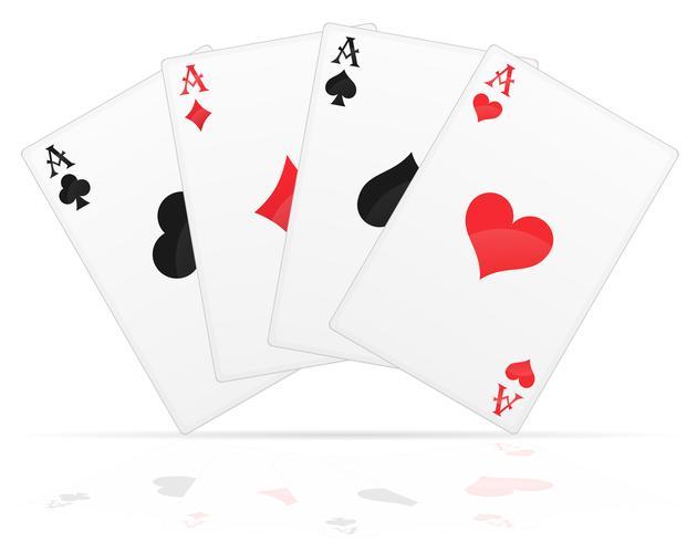 cartes à jouer aces de différentes combinaisons vector illustration